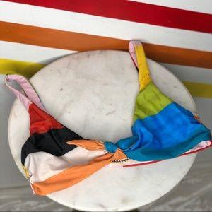 NEW Mara Hoffman rainbow bikini top